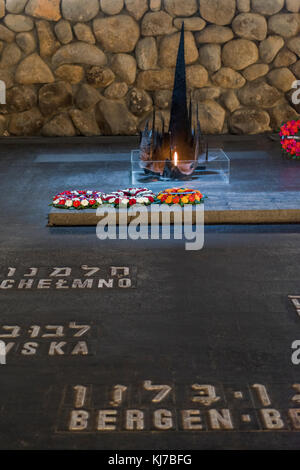 Names of martyrs on floor in memorial and Eternal Flame, Hall Of Remembrance, Yad Vashem, Jerusalem, Israel - Stock Photo