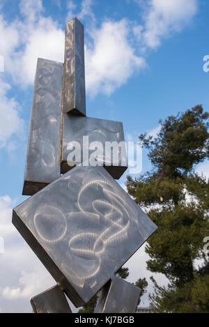 Cubi VI a contemporary sculpture in Israel Museum, Jerusalem, Israel - Stock Photo