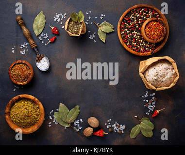 Various type of herbs and spices - Stock Photo