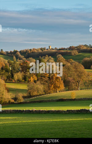 Stow on the wold and cotswold countryside in late autumn sunset light. Stow on the wold, Cotswolds, Gloucestershire, - Stock Photo