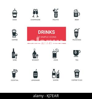 Food theme, alcohol and soft drinks - line design icons set. - Stock Photo