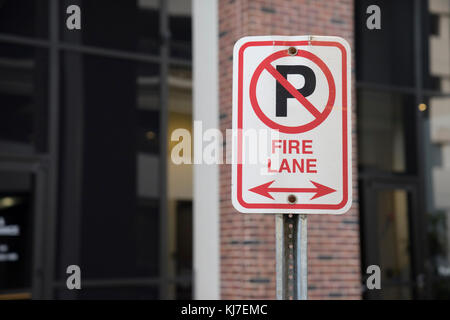 Fire Lane No Parking Sign Outside - Stock Photo