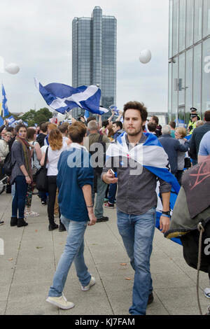 GLASGOW, SCOTLAND- SEPTEMBER 14 2014: Protest at the BBC Scotland HQ during the Scottish Independence Referendum. - Stock Photo