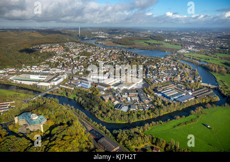View over Wetter, Ruhr valley, Obergraben, run-of-river power station, Wetter (Ruhr), Ruhr area, North Rhine-Westphalia, - Stock Photo
