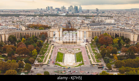 PARIS, FRANCE - October 08, 2017 : aerial view of Trocadero square where many people walk and visit the place - Stock Photo