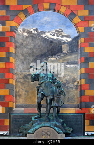 Statue of William Tell with his son at Altdorf town, where the 'episode' with the apple took place. Uri canton, - Stock Photo