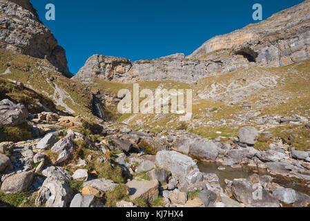 Landscape of Ordesa and Monte perdido national park in Aragonese pyrenees, Spain. - Stock Photo