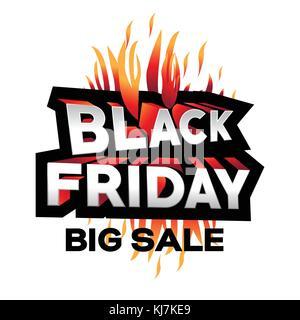 3d black friday illustration, black friday big sale, black friday with flames, bold black friday offer, offers design, - Stock Photo