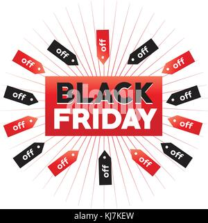 black friday with tags, black friday with off, prince tags around black friday, isolated on white background. - Stock Photo
