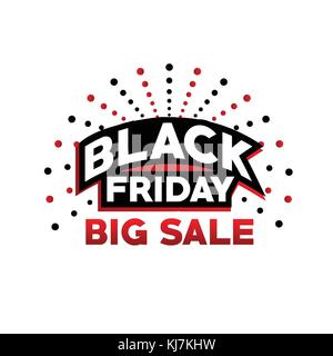 black friday big sale, black friday with dots, bold black friday sign, black friday offer vector, isolated on white - Stock Photo