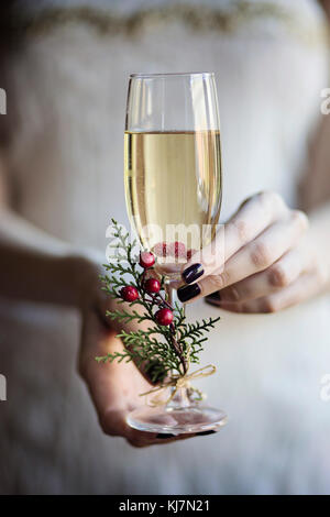 Celebrating with champagne. Young woman holding in her hands a glass of champagne. Close-up - Stock Photo