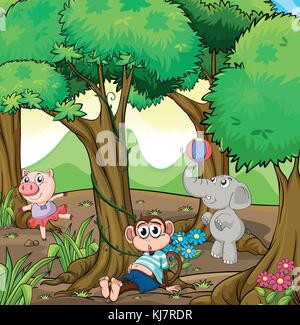 Illustration of the three different kinds of animals playing at the forest - Stock Photo