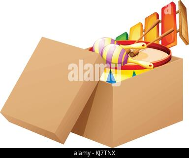 Illustration of a cartoon full of toys on a white background - Stock Photo