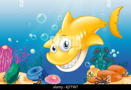 Illustration of a yellow shark smiling under the sea - Stock Photo