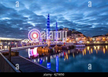 Torquay Harbour At Twilight - Stock Photo