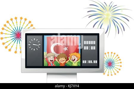 Illustration of a scoreboard with the flag of Turkey and three boys on a white background - Stock Photo