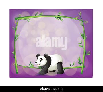Illustration of a panda in front of a bamboo frame - Stock Photo