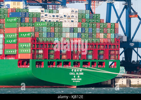 ROTTERDAM, THE NETHERLANDS - JANUARY 11, 2015: The ultra large container ship CSCL Globe from the China Shipping - Stock Photo