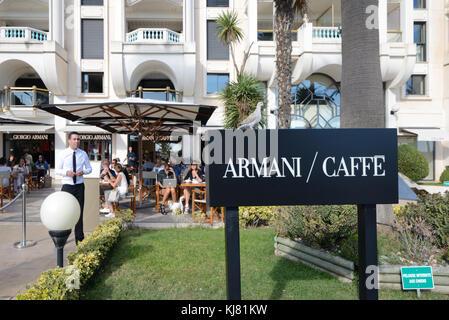 Armani Up-Market Cafe on the Boulevard de la La Croisette, Cannes, Alpes-Maritimes, French Riviera, France