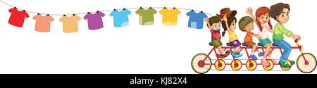 Illustration of a bike with kids and the hanging clothes on a white background - Stock Photo