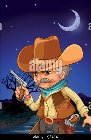 Illustration of a man wearing a hat holding a gun near the river - Stock Photo