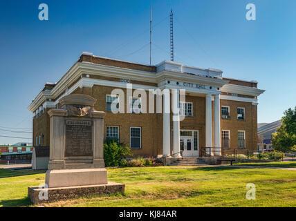 City Hall on Washington Street, Montpelier, Bear Lake Valley, Oregon Trail Bear Lake Scenic Byway, Idaho, USA - Stock Photo