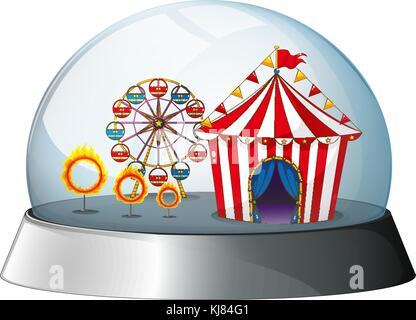 Illustration of a carnival inside a dome on a white background - Stock Photo