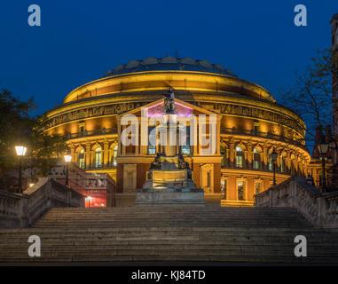 Queen Elizabeth II Diamond Jubilee Steps, Royal Albert Hall, London, UK at dusk - Stock Photo
