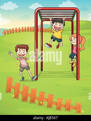 Illustration of the three kids playing in the park - Stock Photo