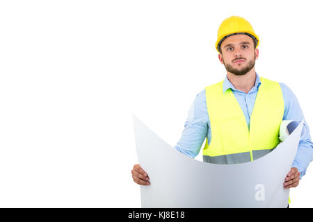 Young Engineer portrait holding blueprints isolated on white - Stock Photo