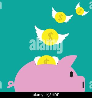 Vector Illustration Business Concept Designed As Coins With White Wings Are Flying Away From A Pink Piggy Bank. - Stock Photo