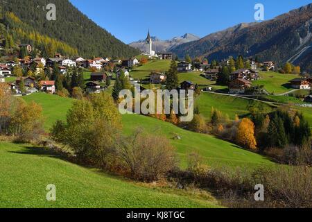 Mountain village Schmitten, Albula, Canton Graubünden, Switzerland - Stock Photo