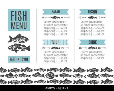 seafood design. Fish menu - Stock Photo