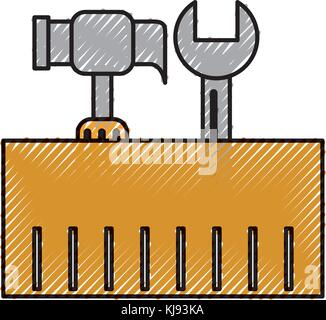 construction box with hammer and wrench tools - Stock Photo