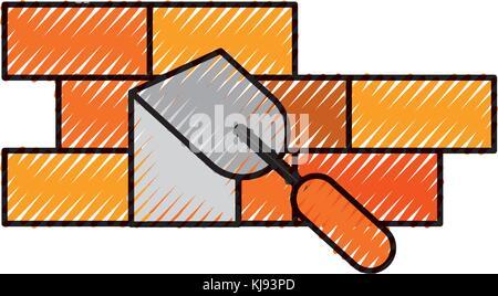 construction wall brick spatula work equipment - Stock Photo