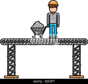 construction worker standing platform with wheelbarrow - Stock Photo