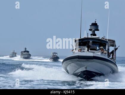171113-N-RF885-091 GULF OF TADJOURA, Djibouti (Nov. 13, 2017) Sailors assigned to Coastal Riverine Squadron (CRS) - Stock Photo