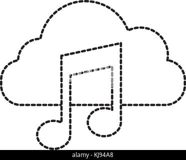 cloud computing music note sound digital button - Stock Photo