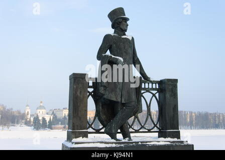 Monument to Alexander Pushkin on embankment of Mikhail Yaroslavovich, Tver, Russia - Stock Photo