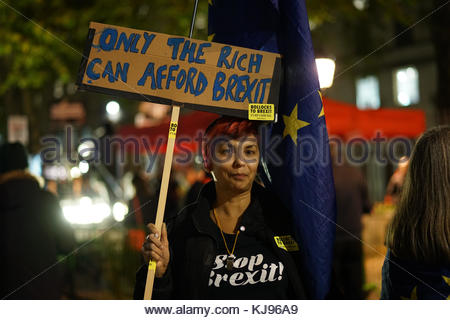 London,Great Britain. November 21st, 2017. [Warning: Explicit Language]UNITED KINGDOM, London: Anti-Brexit protesters - Stock Photo