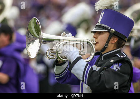 Saturday October 7th - The Northwestern Wildcats band performs at halftime the during NCAA football game action - Stock Photo