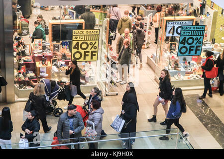 London, UK. 24th Nov, 2017. Large crowds of bargain hunters at Westfield shopping centre in Stratford as shops offer discounts and reduce prices on Black Friday weekend Credit: amer ghazzal/Alamy Live News Stock Photo