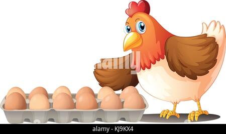 Illustration of the dozen of eggs in a tray and the hen on a white background - Stock Photo