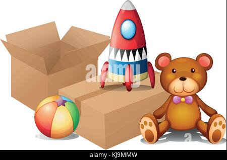 Illustration of the different toys with two boxes on a white background - Stock Photo
