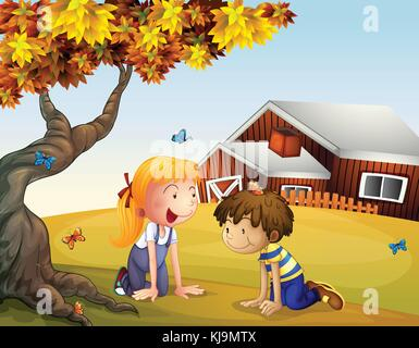 Illustration of kids playing with the butterflies near a big tree - Stock Photo