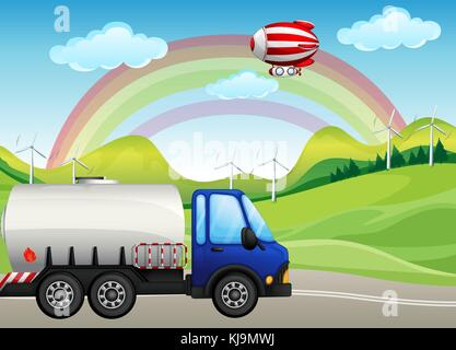 Illustration of an oil tanker passing the hills with windmills - Stock Photo