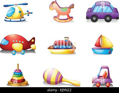 Illustration of the nine different kind of toys on a white background - Stock Photo