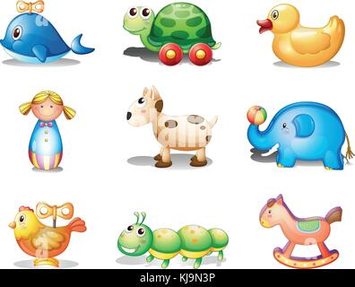 Illustration of the different toys for kids on a white background - Stock Photo