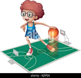 Illustration of a giant player in a small court on a white background - Stock Photo