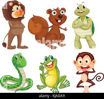 Illustration of the six different kinds of animals in the jungle on a white background - Stock Photo